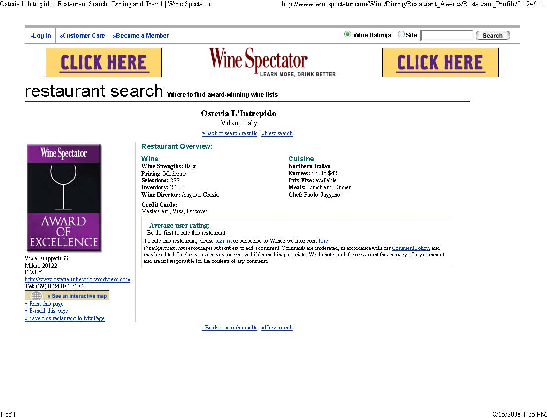 What does it take to get a Wine Spectator Award of